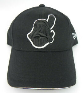CLEVELAND INDIANS BLACK ON BLACK VTG NEW ERA CHIEF WAHOO BASEBALL CAP HAT NEW!
