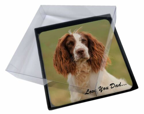4x Springer Spaniel 'Love You Dad' Picture Table Coasters Set in Gift , DAD120C