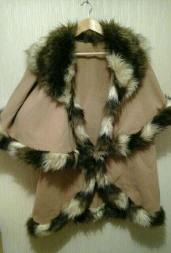 taglia rifiniture donna Cappotto beige medio pelliccia in con da qnSwt4xFC