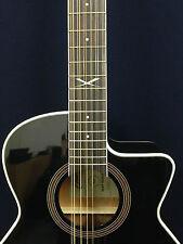 EKO Next Series 12-String Jumbo Acoustic Guitar w/Cutaway, EQ. Black + Free Bag