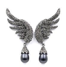 BEAUTIFUL ANTHROPOLOGIE ANGEL WINGS GREY DROP STATEMENT EARRINGS NEW BW