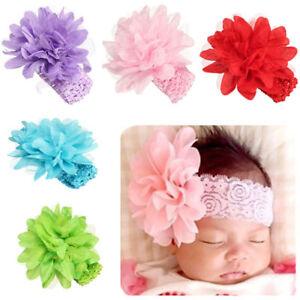 10x-Baby-Girls-Large-Ruffle-Flower-Lace-Hairband-Soft-Elastic-Headband-Hair-Band