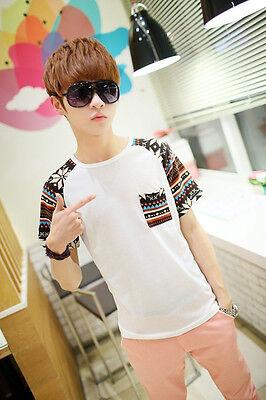 Cool Korean Fashion Mens Summer Top Short Sleeve Boy Round Neck T-shirt M-XXL
