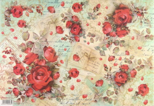 Red Painted Roses for Decoupage Craft 33x49cm Rice Paper