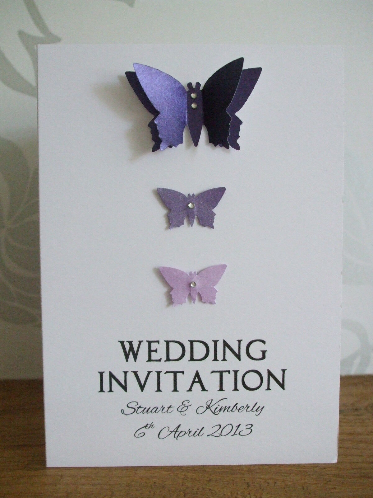50 x Personalised Butterfly Wedding   Evening Civil Partnership Invitations