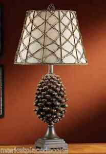 Beau Image Is Loading Pine Bluff Table Lamp Pinecone Rustic Log Cabin