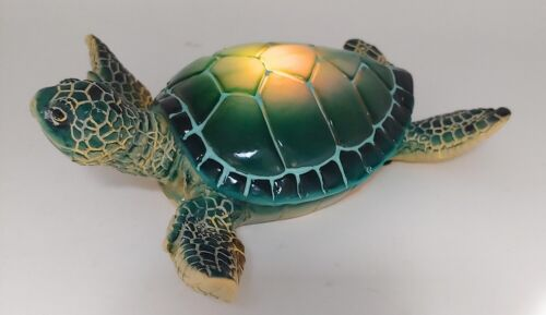 """DeJon Blue Glowing Shell Sea Turtle LED Changing Color Light 6/"""" W"""