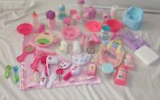 baby doll toy lot accessories food dishes Potty chair powder lotion bottles bag