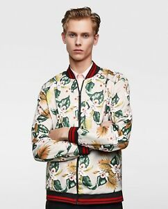 83a5e3034 Image is loading ZARA-MAN-GREY-FLORAL-PRINT-BOMBER-JACKET-REF-
