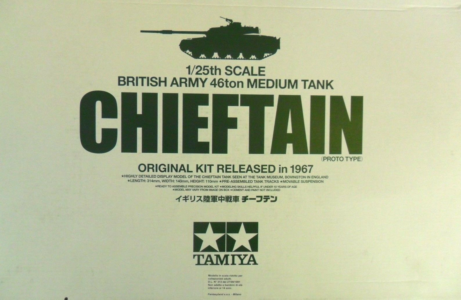 TAMIYA 1 25 KIT voitureRO ARMATO BRITISH ARMY 46ton MEDIUM  TANK CIEFTAN  ART 30608  les magasins de détail