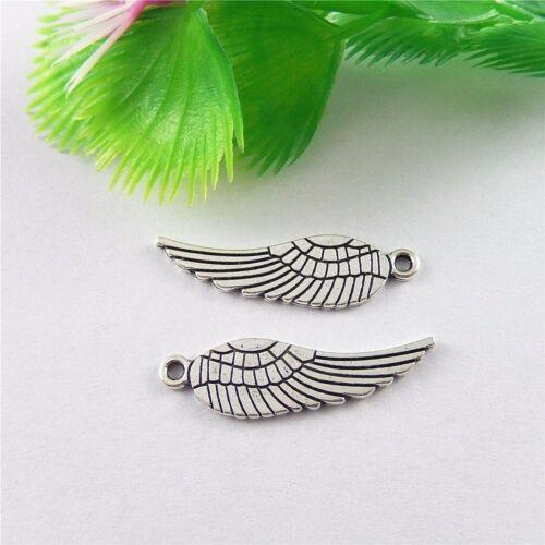 60 Stück Weinlese Silber Legierung Flügel Form Anhänger Charme Schmuck 51627