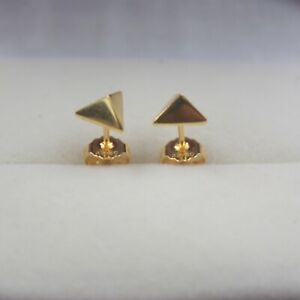 Details About Pure 18k Yellow Gold Earrings Women Luck Triangle Stud 1 35g 15x7mm