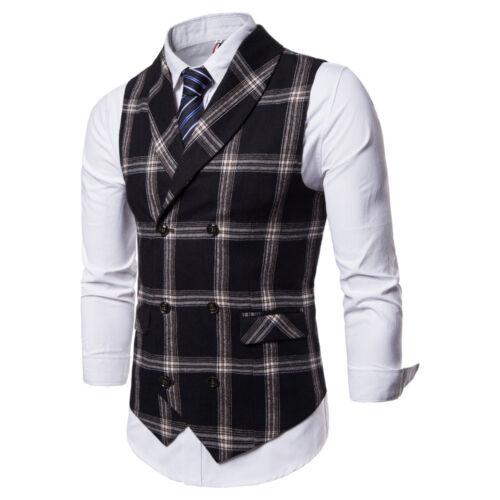 New Fashion Mens Vests Double Breasted Plaids Checks Slim Waistcoats FM3042