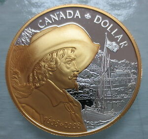 2008-CANADA-FOUNDING-OF-QUEBEC-PROOF-SILVER-DOLLAR-GOLD-PLATED-COIN