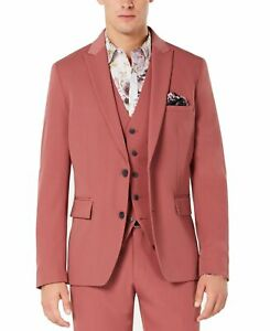 INC Mens Blazer Dusty Red Size 2XL Two Button Slim Fit Stretch Peak $129 123