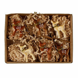 Set-6-Bethany-Lowe-Brown-Deer-Fawn-Christmas-Tree-Ornaments-Retro-Vntg-Decor