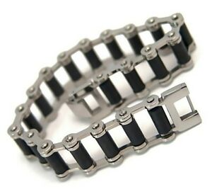 Motorcycle-Chain-Bracelet-Black-Rubber-Surgical-Stainless-Steel-8-5-inches-Biker