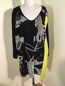 TS14-L-SL-STRETCH-BLACK-LACE-FEEL-FLORAL-PRINT-LIME-YELLOW-INSERTS-TOP-SZ-M