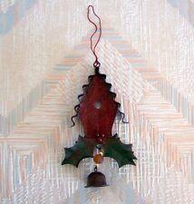 Birdhouse Christmas String Ornament Metal Regal Art Red Birdhouse Holly Leaves