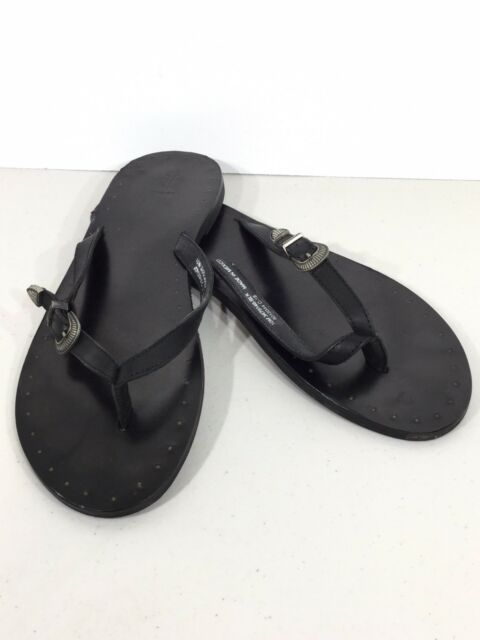 8abe910594e0cc Frye Ally Western Women s Size 10M Black Soft Leather Flip Flop Sandals  XF2-72