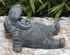 Sculpture En Pierre Hippopotame Gris-ardoise Jet De Décoration ...