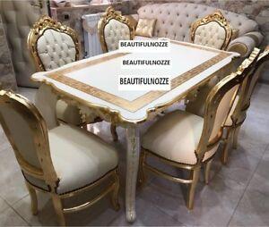 Tavolo Con 6 Sedie In Legno.Tavolo In Legno Avorio E Foglia Oro Con 6 Sedie Arredo Cucina Sala