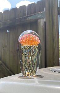 "Signed Satava Hand Blown 5"" Pacific Jellyfish  Art Glass Paperweight"