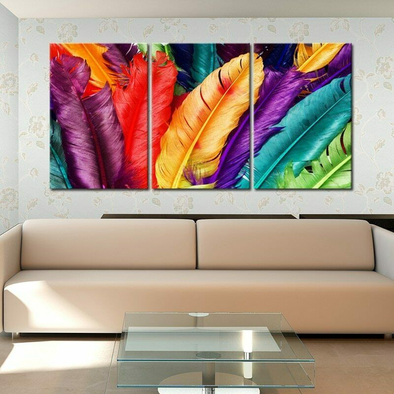 3 Panel Farbeful Feathers Modern Decor Canvas Wall Art HD Print