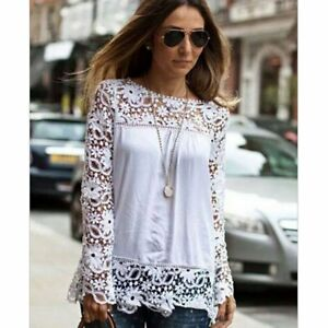 38288dacad321 Image is loading Ladies-Hollow-Flower-Chiffon-Lace-Blouse-Long-Sleeve-