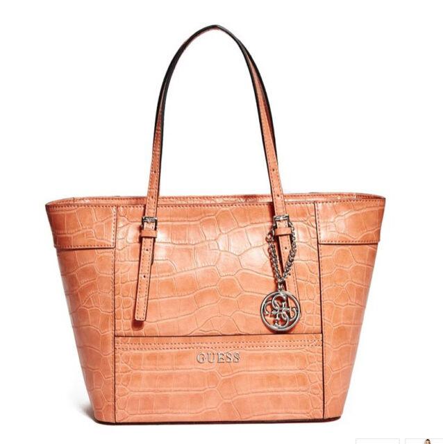 39ab062b1113 NWT GUESS Delaney Classic Tote Handbag Purse Crocodile Embossed Burnt Orange
