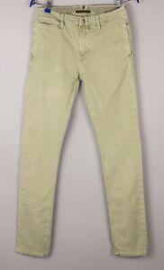 Nudie Jean Hommes Kaki Serré Slim Jeans Extensible Taille W29 L32 BCZ940