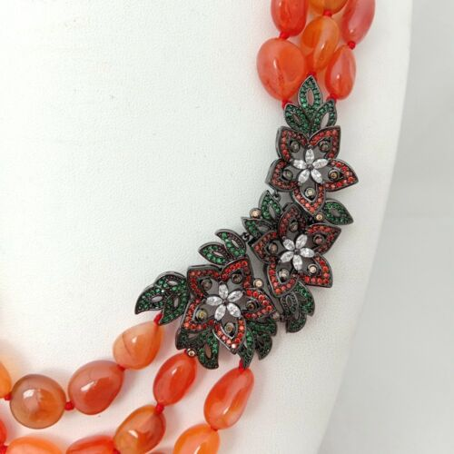 "19/""-22/'/' 3 Strands Orange Carnelian Nugget Necklace CZ Pave Pendant"