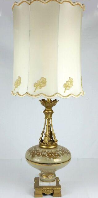 Vintage Hollywood Regency Glass Lamp Hand Painted Flowers Original Shade 44