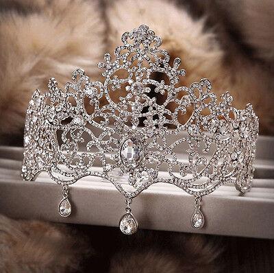 8CM High Crystal Tiara Crowns Rhinestone Pageant Headband Bridal Hair Jewelry