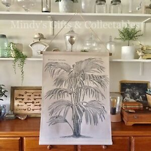 Details About 78cm High Printed Canvas On Wooden Hanger Vintage Wall Art Leaves Palm Tree