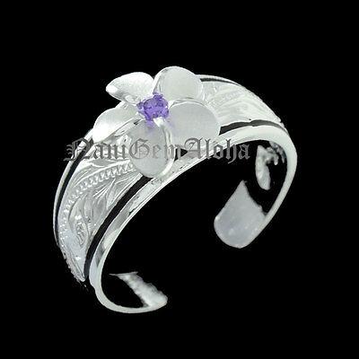 Hawaiian Sterling Silver BlackLine 8mm Plumeria Flower Scroll Toe Ring Purple CZ