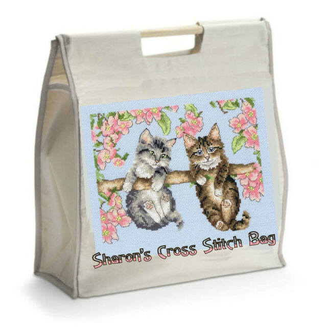 Personalised Cross Stitch Bag with Black Handles - Ideal GIFT for Mother's Day