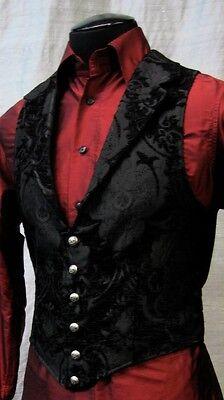 SHRINE ARISTOCRAT VICTORIAN BLACK TAPESTRY GOTHIC VEST JACKET VAMPIRE STEAMPUNK