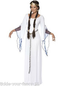 Image is loading Quality-Womens-White-Medieval-Maid-Costume-Old-England-  sc 1 st  eBay & Quality Womens White Medieval Maid Costume Old England Fancy Dress ...
