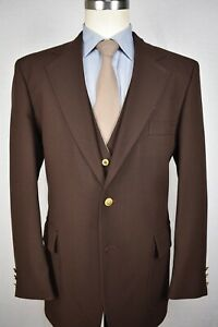 Sears-Roebuck-And-Co-Brown-Polyester-Two-Button-Three-Piece-Suit-Size-44L