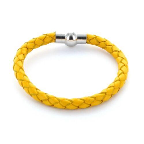 gelb Lieblingsmensch® Armband Lederarmband 0,5cm geflochten Farbe