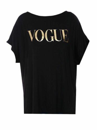 Women/'s Ladies Vogue Leopard Gold Foil Oversized Batwing Fashion Top New