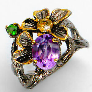 Silver-Ring-Natural-Amethyst-and-chrome-diopside-and-citrine-925-Sterling-RVS95
