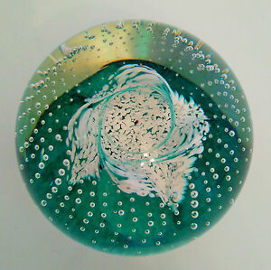 CAITHNESS-Scotland-Glass-Paperweight-Cauldron-Green-Excellent-Condition