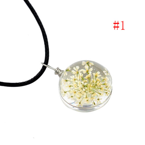 Boho Transparent Resin Dried Daisy Flower roundendant Chain Necklace Gifts