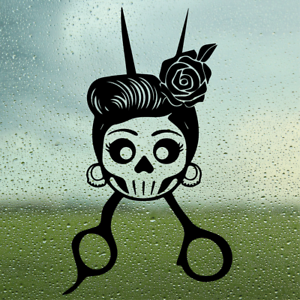 Barbers Vinyl Decal Skull//Wall//Laptop//Car//Tablet//Goth//Scissors//Hairdressers