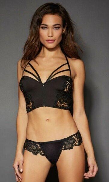 Brand New w  Tag Yandy Dreamgirl Black Longline Venice Lace Bra Thong Set  Sz 32 10d4314fa