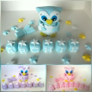Peachy Owl Bird Christening Birthday Baby Girl Boy Handmade Cake Personalised Birthday Cards Akebfashionlily Jamesorg