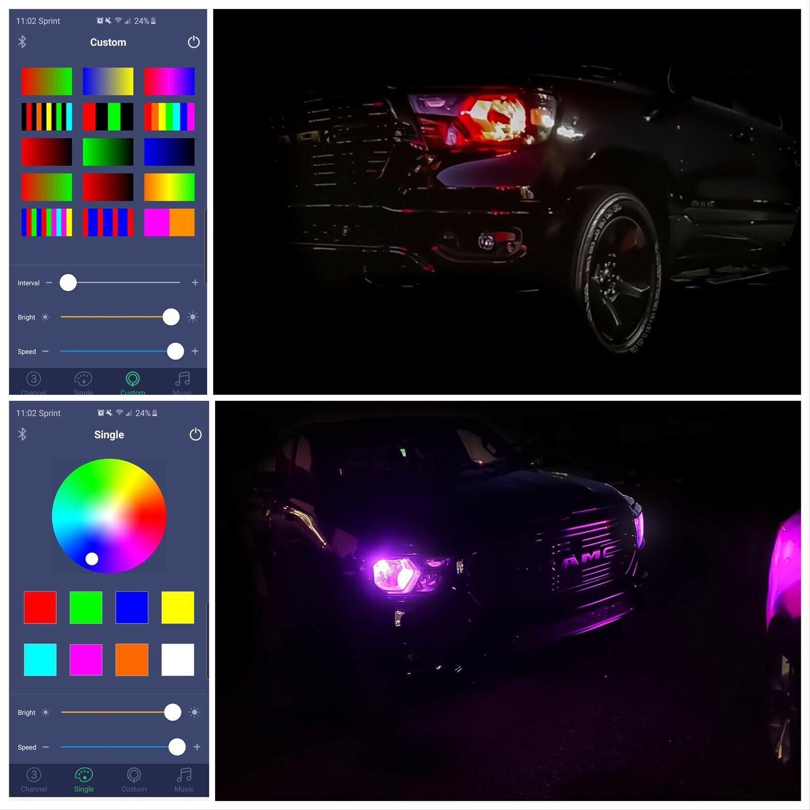 H11 RGB LED Headlight Bulbs Bluetooth Controlled for Ca