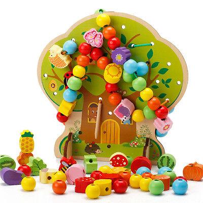 102pcs/Set String Wooden Beads Puzzle Kids Intelligence Education Toys Colorful